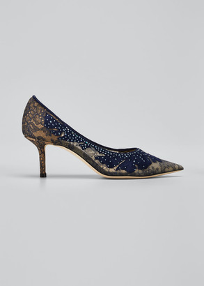 Jimmy Choo 65mm Love Suede & Lace Pumps, Navy