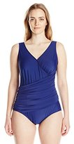 Maxine Of Hollywood Women's Plus-Size Solid Tricot Surplice Wrap Mio Swimsuit
