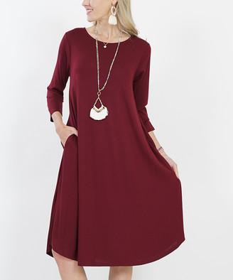 Lydiane Women's Casual Dresses DK - Dark Burgundy Crewneck Three-Quarter Sleeve Pocket Midi Dress - Women & Plus