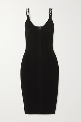 Off-White Canvas-trimmed Ribbed-knit Dress - Black