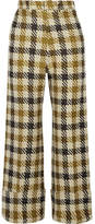 Sea Cropped Checked Tweed Wide-leg Pants - Yellow