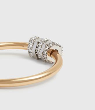 AllSaints Gia Gold Tone Cubic Zirconia Hoop Earrings