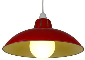 Loxton Lighting Metal Industrial/Factory Shade with Funnel Shape in Deep, Steel, Red