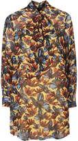 Marigold print pussybow neck dress