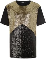 Jaded London Black And Gold Sequin T-Shirt*