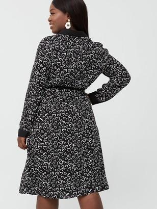 V By Very Curve Heart Print Shirt Dress - Black