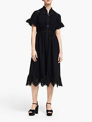 Somerset by Alice Temperley Broderie Frill Dress, Black