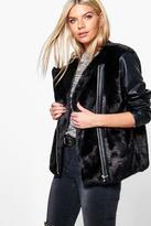 Boohoo Leah PU Sleeve Faux Fur Zip Up Jacket