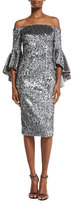 Milly Off-the-Shoulder Sequined Cocktail Dress, Gunmetal