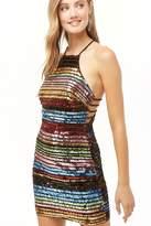 Forever 21 Rainbow Sequin Halter Dress