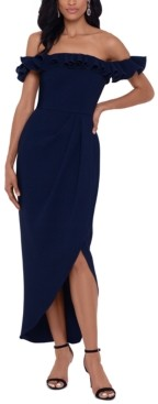 Xscape Evenings Ruffle Off-The-Shoulder Gown