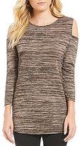 Allison Daley 3/4 Sleeve Cold-Shoulder Melange Tunic