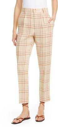 Forte Forte Tartan Plaid Linen & Cotton Blend Ankle Pants
