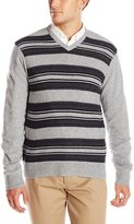 Haggar Men's Reverse Jersey Stitch V-Neck Sweater