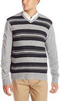 Haggar Men's Reverse Jersey Stitch V-Neck Sweater