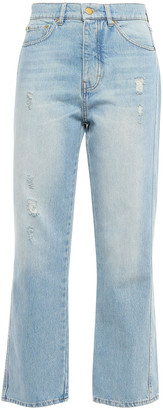 Victoria Victoria Beckham Distressed Faded High-rise Straight-leg Jeans