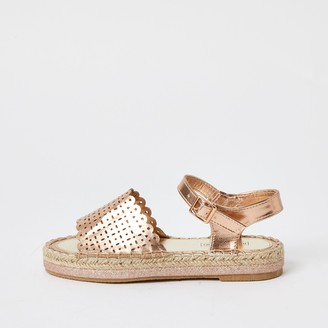 River Island Girls Gold metallic espadrille sandals