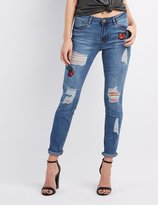Charlotte Russe Refuge Patch Skinny Boyfriend Destroyed Jeans