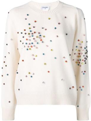 Chanel Pre-Owned cashmere embellished jumper