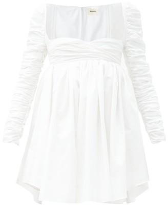 KHAITE Sueanne Gathered Cotton-poplin Mini Dress - White