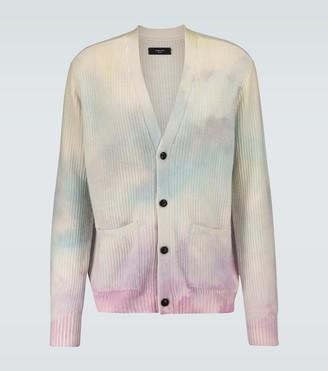 Amiri Tie-dyed cashmere-blend cardigan