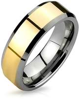 Bling Jewelry Gold Plated Silver Tungsten Beveled Ring 8mm