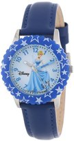 Disney Kids' W000047 Cinderella Time Teacher Stainless Steel Watch with Blue Leather Band