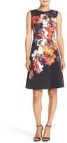 Maggy London Petite Women's Floral Print Faille Fit & Flare Dress