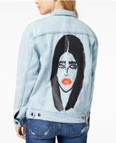 The Style Club Cotton Graphic Denim Jacket