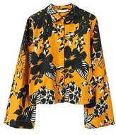 MANGO Flowered printed crop shirt