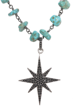 Rachel Reinhardt Silver Black Spinel Star Pendant Necklace