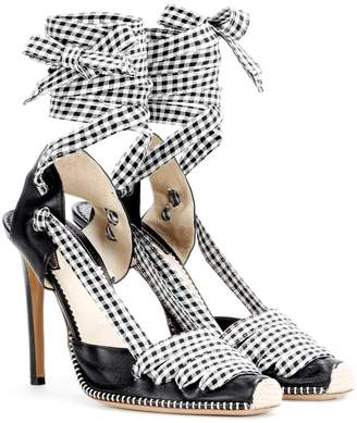 Altuzarra Leather and gingham lace-up d'Orsay pumps