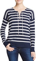 Aqua Cashmere Sailor Stripe Lace-Up Cashmere Sweater