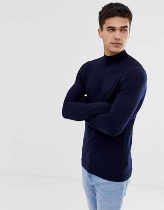 Design DESIGN muscle fit merino wool turtle neck jumper in navy