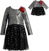 Dollie & Me Black & Silver Skater Dress & Doll Dress - Girls