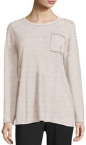 Eileen Fisher Lightweight Organic Linen Striped Top, Plus Size