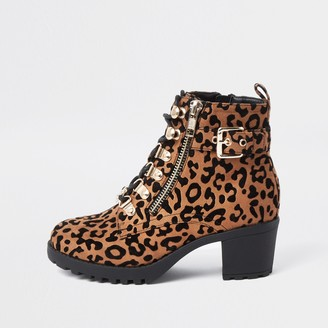 River Island Girls Brown leopard print hiker heeled boots