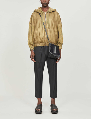 10seiotto Hooded relaxed-fit leather jacket