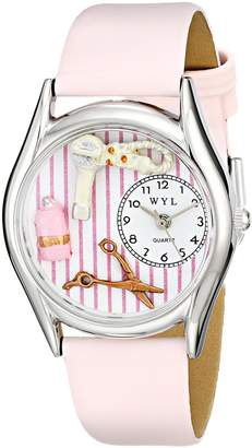 Whimsical Watches Beautician Female Pink Leather and Silvertone Unisex Quartz Watch with White Dial Analogue Display and Multicolour Leather Strap S-0630007