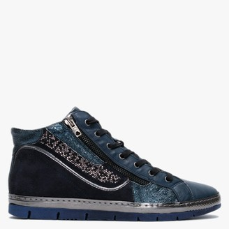 Khrio Navy Leather & Suede Embellished High Top Trainers
