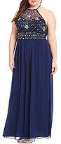 B. Darlin Plus High Neck Beaded Bodice Long Dress