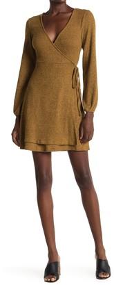 Velvet Torch Long Sleeve Ribbed Knit Wrap Dress