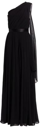 Max Mara Berger One-Shoulder Silk Georgette Gown