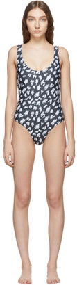 Ashley Williams SSENSE Exclusive Black and White Scribble One-Piece Swimsuit