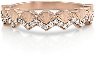 Dominique Cohen 14k Rose Gold Diamond Deco Fan Ring, Size 7