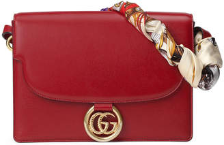 Gucci GG Ring Medium Textured Leather Shoulder Bag with Silk Foulard