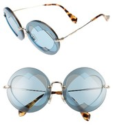 Miu Miu Women's 62Mm Layered Heart Round Sunglasses - Gold/ Azure