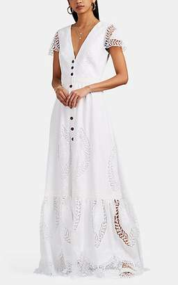 Sophia Kah Women's Lace-Inset Cotton Voile Button-Front Dress - White