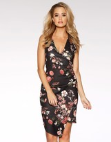 Quiz Floral Print Asymmetric Hem Dress
