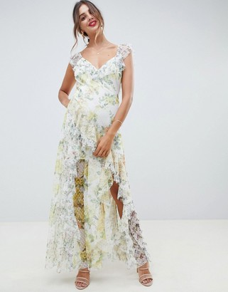 Asos Design DESIGN ruffle maxi dress in floral dobby mesh with lace-Multi